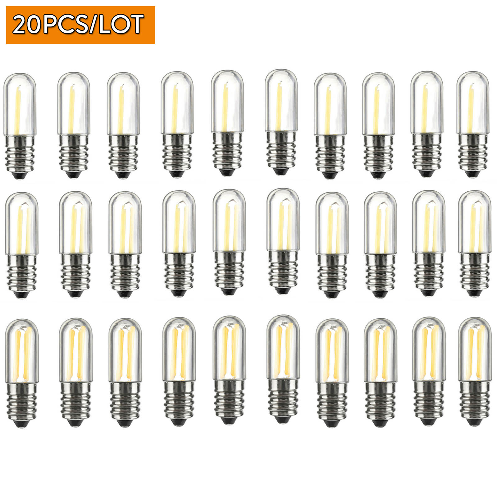 20PCS Dimmable <font><b>LED</b></font> COB Filament Light <font><b>Bulbs</b></font> Mini E12 E14 <font><b>1W</b></font> 2W 4W Lamps for Refrigerator Fridge Freezer sewing machine Lighting image