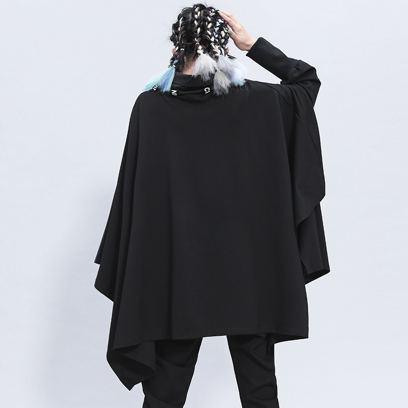 [EAM] Loose Fit Black Irregular Split Sweatshirt New Turtleneck Long Sleeve Women Big Size Fashion Tide Spring Autumn 2020 1Z312 4