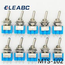 10 pc/lote azul mini MTS-102 3 pinos spdt on-on 6a 125vac interruptores de alavanca miniatura