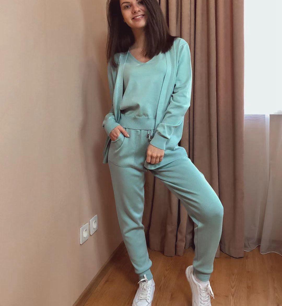 GIGOGOU – ensemble Chic 3 pièces pour femmes, Costume tricoté, couleur unie, Cardigan, pantalon de jogging, débardeur sans manches 5