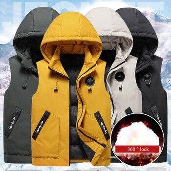 Winter Warm Vest Men New Stylish Autumn Winter Quality Hooded Jacket Male Casual Sleeveless Coats Gentlemen Waistcoat Size M-5XL