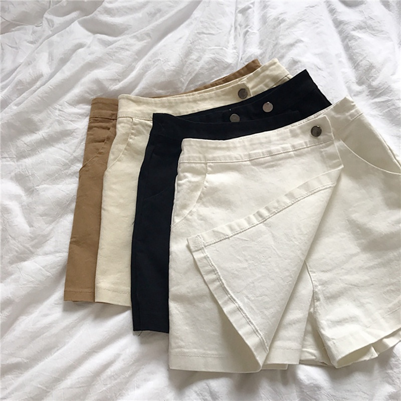High Waist Skirts For Ladies Fashion Casual Women's Solid Color A-Line Miniskirt Wide Leg Shorts Skirts For Women