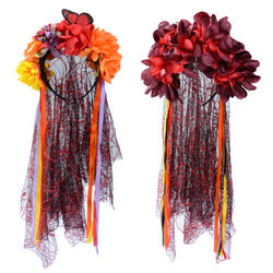 Day Of The Dead Rosas Véu de Noiva Cadáver Halloween Mexicano Flor Hairband Headband do Vestido Extravagante Festa de Halloween Costume Acessório