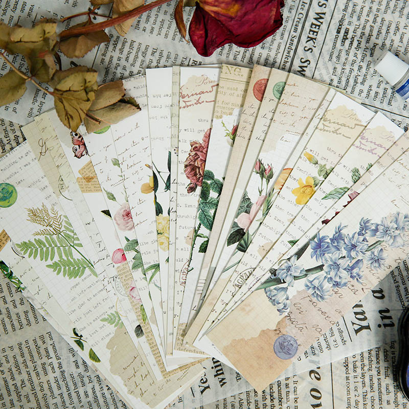 30Pcs/Box Kawaii Plant Bookmarks Cute Flower Girl Bookmarks Novelty Paper Book Marks For Kids School Office Supplies Stationery