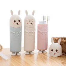 Милый кролик, портативный контейнер для зубной щетки, зубная щетка, зубная паста, защита, органайзер для путешествий, коробка для хранения, держатель для зубной щетки