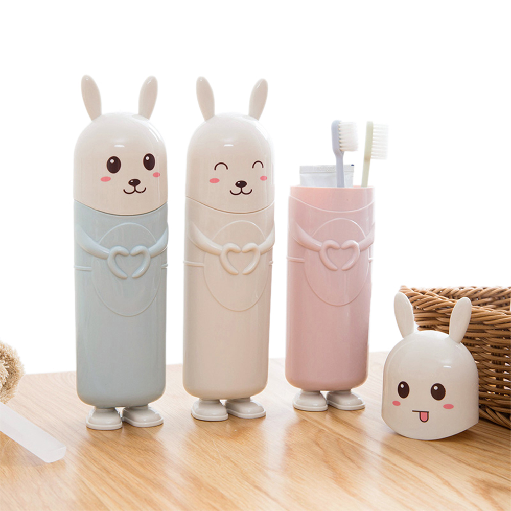 Cute Rabbit Portable Tooth Brush Container Toothbrush Toothpaste Protect HolderTravel Organizer Storage Box Toothbrush holder image