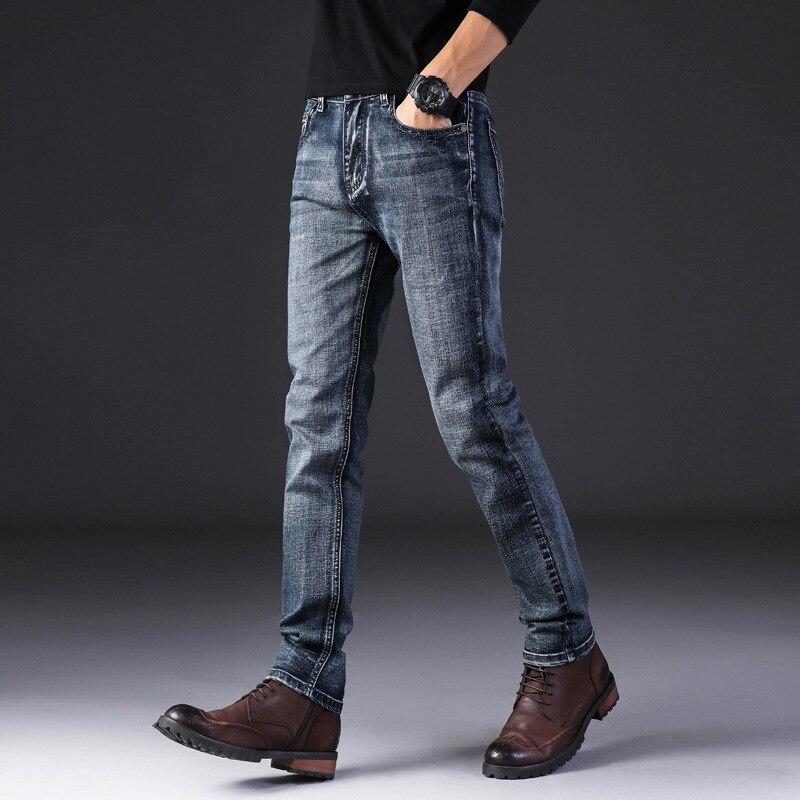 MEN'S Jeans New Style Business Casual Fashion Men'S Wear Elasticity Slim Fit Straight-leg Pants Simple Versatile Autumn And Wint