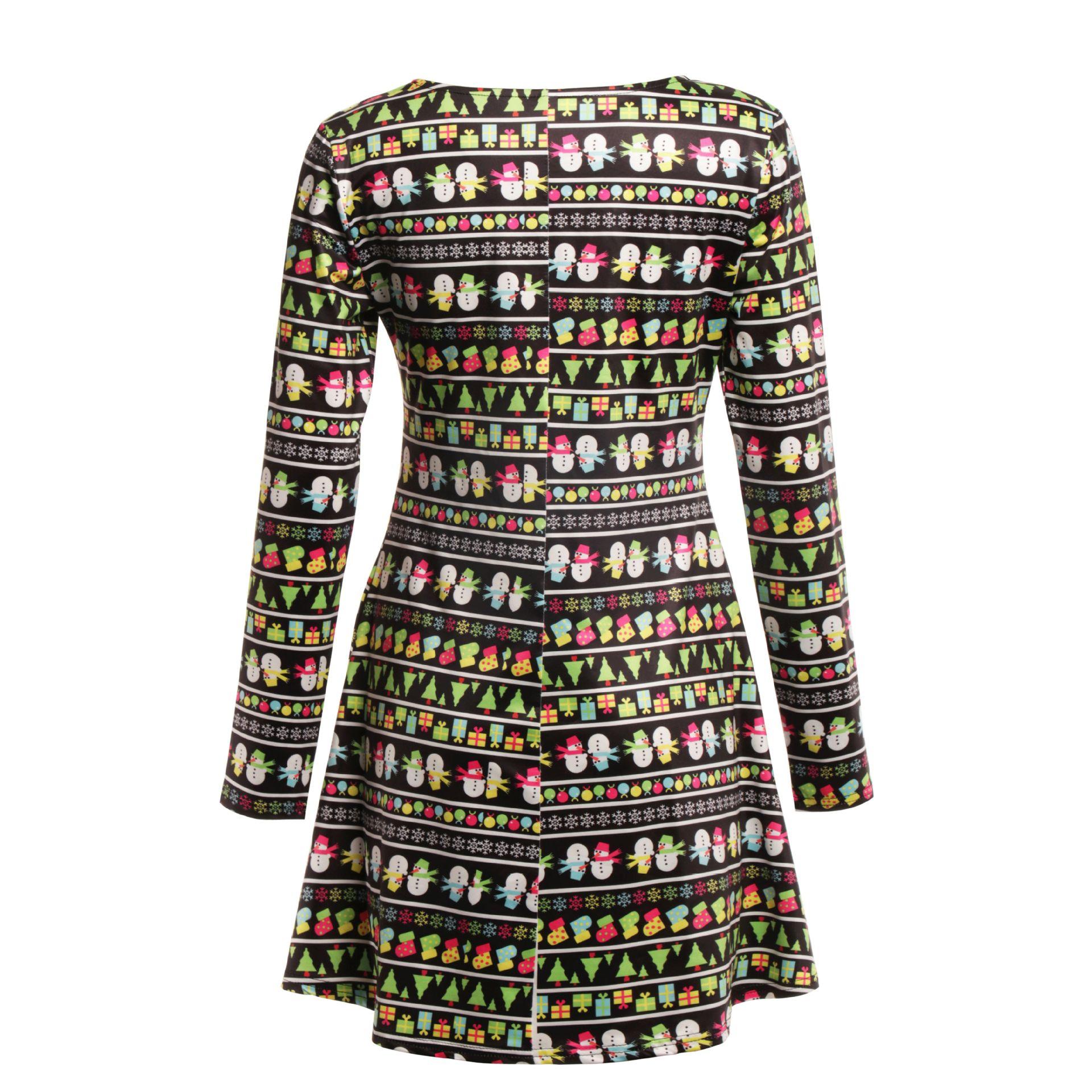 Print Long Sleeve Autumn Winter Christmas Dress Women 19 Casual Loose Short Party Dress Plus Size S-5XL Vestidos 6