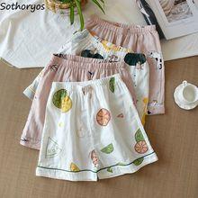 Sleepwear Sleep-Bottoms Pajama-Pants Shorts Korean-Style Womens Summer Kawaii Casual