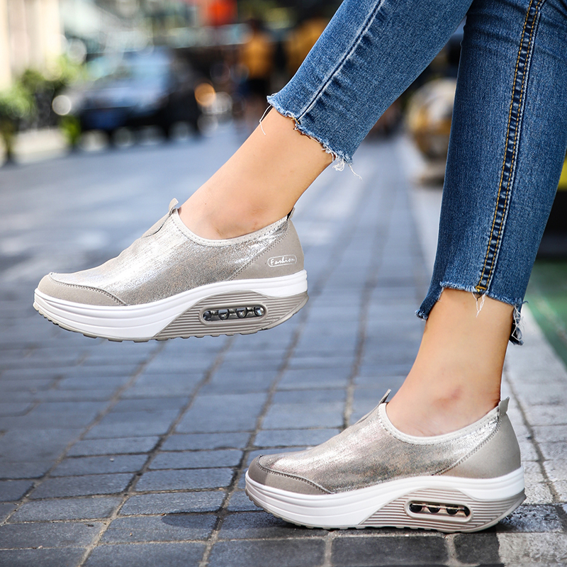 Big Size 35-41 Women Wedge Sneakers Air Cushion Slip On Fitness Shoes Women Soft Outdoor Non-slip Shock Absorber Rocking Shoes