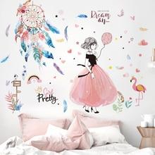 [shijuekongjian] Cartoon Girl Wall Stickers DIY Dreamcatcher Feathers Mural Decals for Kids Rooms Baby Bedroom Home Decoration