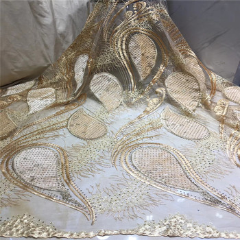 Nigerian Lace Fabric 2019 High Quality lace Sequin Velvet Lace Fabric Gold Embroidered Tulle African Velvet Lace Fabric x15-29