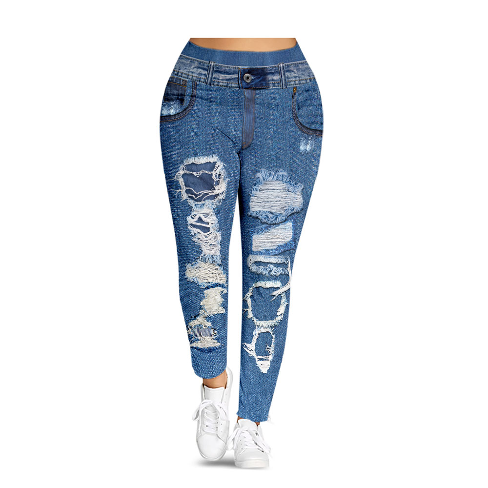 Wipalo Women Leggings Plus Size Mid Waist 3D Print Ripped Denim Leggings Elastic Skinny Casual Workout Women Pencil Pants XXXXL