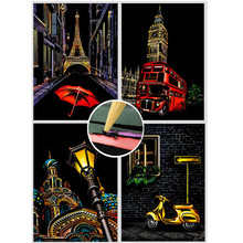 21*30cm Travel Series Premium Enchanted Scratch Painting Kits Art Adult City Night Scene Scratch Art Painting Kids Drawing Toys