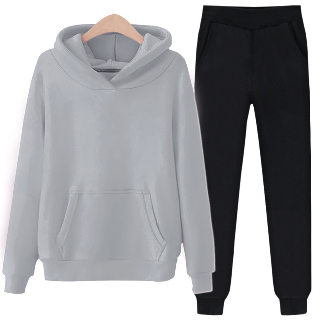 2 Piece Set Women Tracksuit Spring Autumn Clothes Solid Fleece Hooded Sweatshirt Top + Pants Women's Sets Jogging Suit Outfits 2