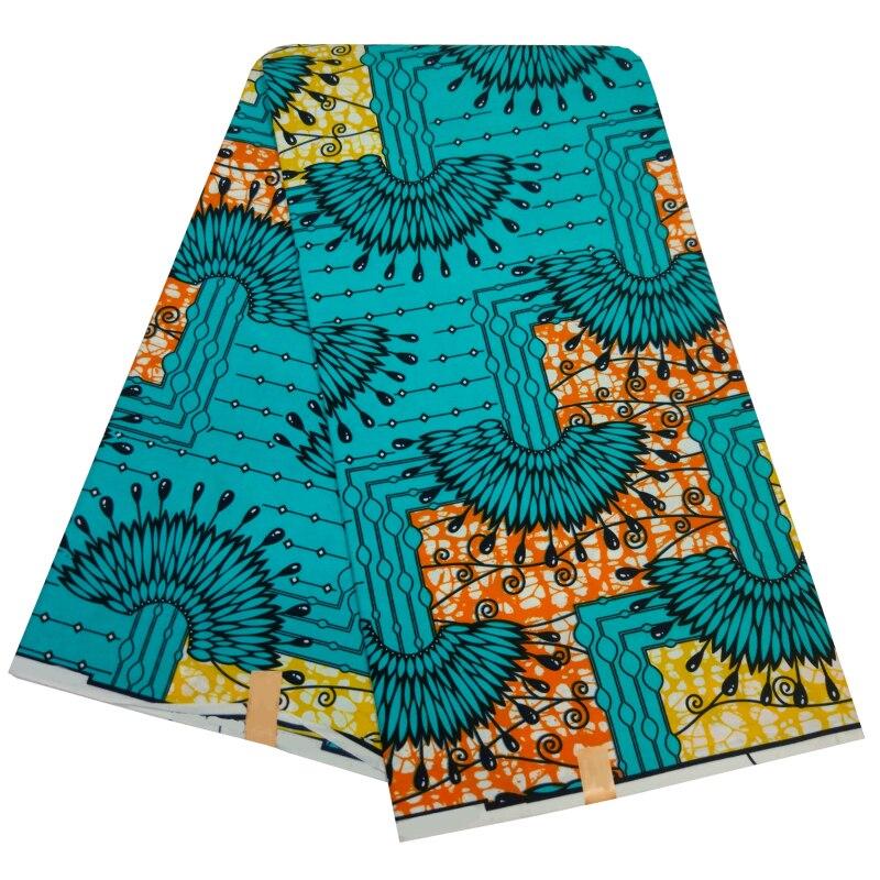 African Dutch Wax Fabric 100% Polyester 2019 Nigeria Ankara Wax Fabric High Quality Blue Pattern Printed 6Yards