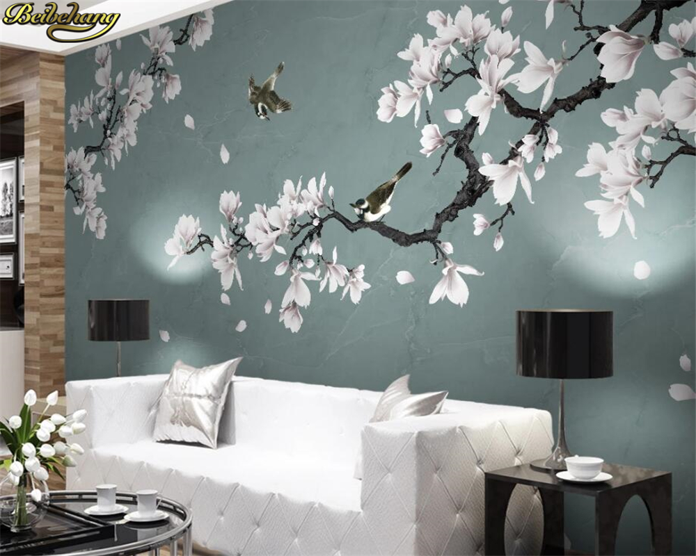 Beibehang Custom 3d Wallpaper Mural White Magnolia Hand-painted Brushwork Flowers And Birds New Chinese Style Wall Paper