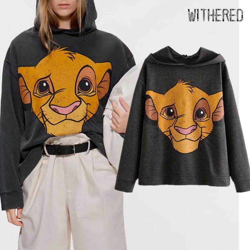 Whithered BTS 2019winter Hoodies Women High Street Vintage Cartoon Lion Printing Oversize Hooded Sweatshirt Women Pullovers Tops
