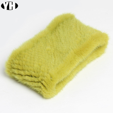 Fashion Lady Real Nertsen Bont Sjaal Hoofdbanden Winter Warm Echte Mink Fur Ring Sjaals Luxe Bont Halswarmer Uitlaten