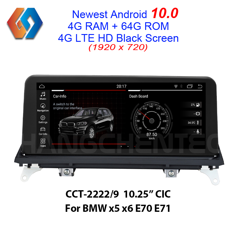 New Come Android 10.0 64G rom Black Screen for <font><b>BMW</b></font> <font><b>x5</b></font> x6 <font><b>E70</b></font> E71 CIC Built-in CarPlay Function <font><b>Bluetooth</b></font> WiFi Car GPS Multimedia image