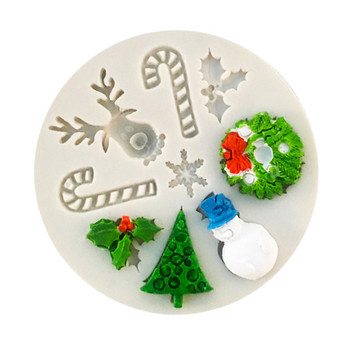 Silicone Christmas Tree Santa Claus Elk Sled Stick Mold Chocolate Cake Moulds Cookies bakeware tools Kitchen Baking Tools image
