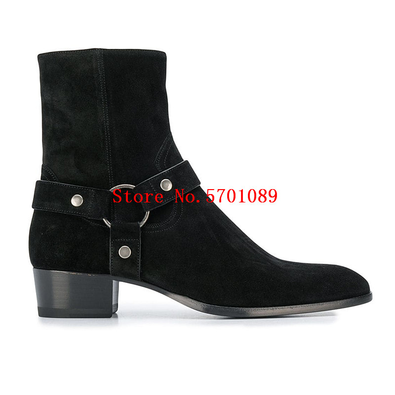 Man Buckle Ankle Boots Black Suede Wyatt Ankle Boots Almond Toe Mid High Block Heel Harness Chelsea Boots Shoes