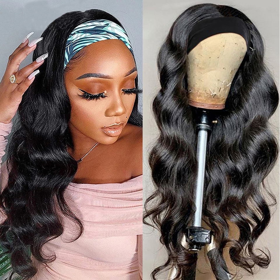 Парики с головной повязкой для чернокожих женщин, бразильские волнистые человеческие волосы, парики с шарфом, без клея, прямые волосы с Реми