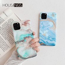 Marble Phone Case For iPhone 11 Pro Matte Sea Shockproof Back Cover Soft Fashion Simple Clear New Coque