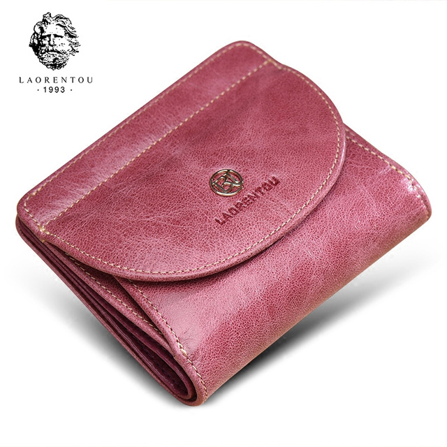 LAORENTOU Brand Women Short Wallets Genuine Leather Standard Wallets Fashion Zipper Purse Lady Coin Pocket Card Holder for Woman