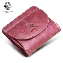LAORENTOU marka kadın kısa cüzdan hakiki deri standart cüzdan moda fermuar çanta bayan para cebi kart tutucu kadın için
