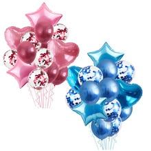 14pcs Heart Star Gold Confetti Helium Balloon Wedding Decoration Metallic Balloons Globos Baby Shower Birthday Party Ballons