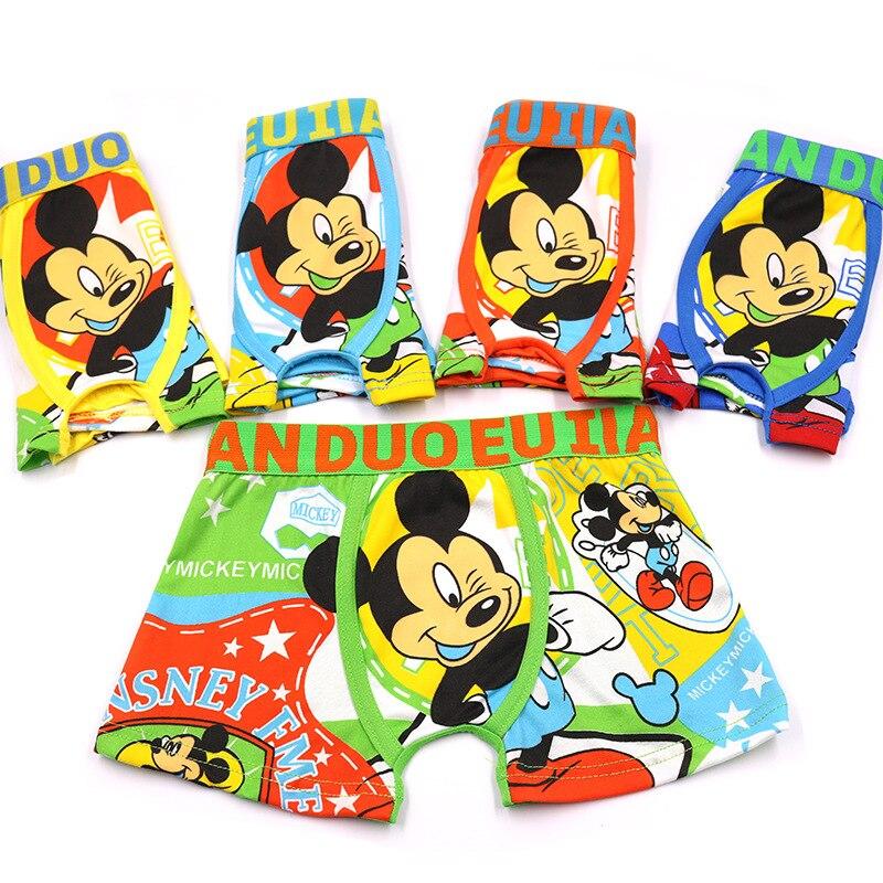 3pcs/lot  Boy's Quadrangular Underwear, Children's Underwear, Mickey Mouse Printed Boy's Close-fitting Flat-angle  Panties