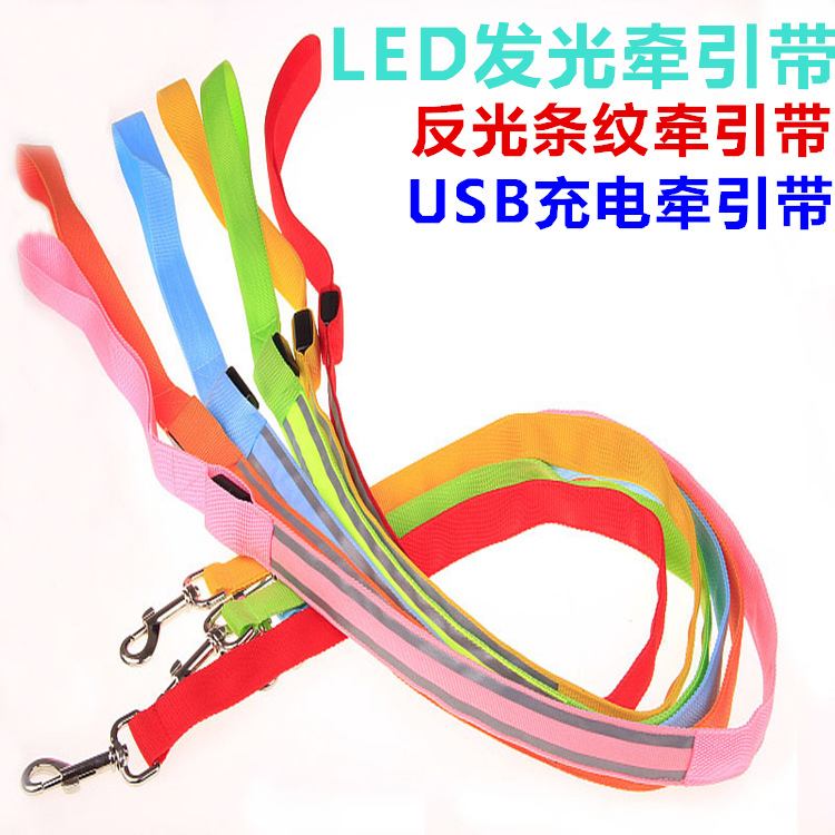 New Style USB Charging LED Stripes Reflective Pet Shining Hand Holding Rope LED Traction Flash Dog Chain Dog Traction Rope