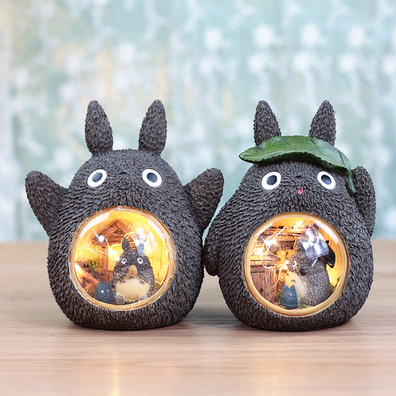 Resin Cartoon Baby Bedroom Novetly Lamps Totoro Leaves Starry Crafts Night Light Home Decoration Christmas Gift For Kids
