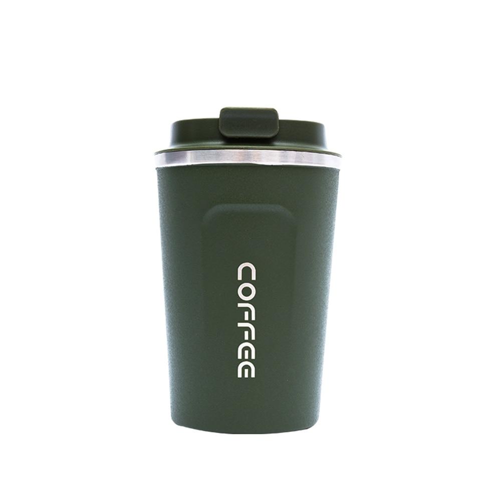 SOLEDI, 304, нержавеющая сталь, кофейная кружка с крышкой, с изоляцией, для молока, воды, чая, чашка, герметичная, для путешествий, термос, колба, 380 мл, 510 мл - Цвет: Green