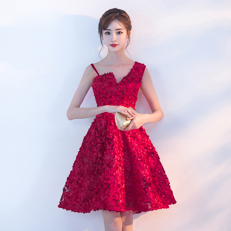 Dress For Toast Bride 2019 New Style Banquet Marriage Engagement Dress Red Dress Short Party Dress