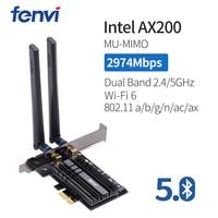 band dual 2400Mbps Wireless-AC שולחני PCI-E Dual Band WLAN Wi-Fi כרטיס מתאם עבור Wi-Fi 6 AX200NGW 802.11ac / גרזן BT5.0 אנטנות עם (1)