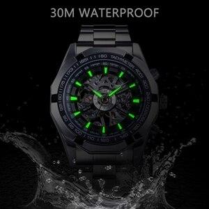 Image 4 - Forsining 2019 aço inoxidável à prova dwaterproof água dos homens relógios esqueleto marca superior luxo transparente esporte mecânico masculino relógios de pulso