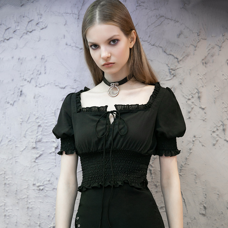 Women's Solid Square Collar Ruched Fitted Crop Tops