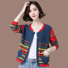 Cardigan de malhas femininas primavera e outono 2021 nova cor bloco camisola jaqueta all-match xale topo