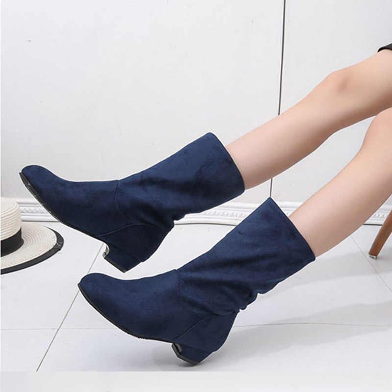 2018 Herfst Winter Vrouwen Laarzen Mid-Kalf Martin Laarzen Merk Mode Vrouwelijke Stretch Katoen Slip-on Laarzen platte Schoenen Vrouw