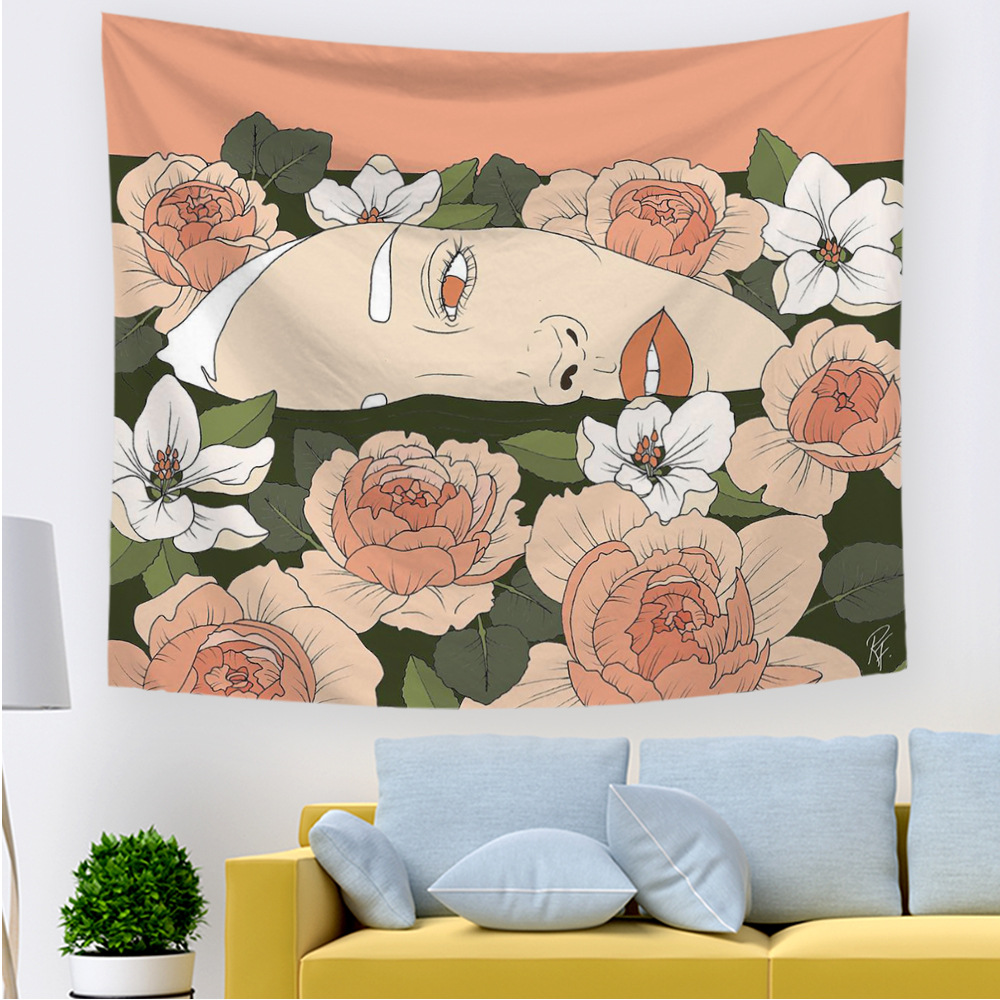 Personality Wall Tapestry Women Floral Butterfly Pink Green Hippie Boho Decor Tapestry Wall Hanging Anchor Backdrop Wall Carpet