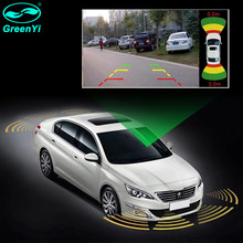 GreenYi wideo samochodowe czujnik parkowania z przodu z tyłu 16mm 8 płaskie czujniki 2 kamera wideo wejście asystent parkowania akcesoria samochodowe