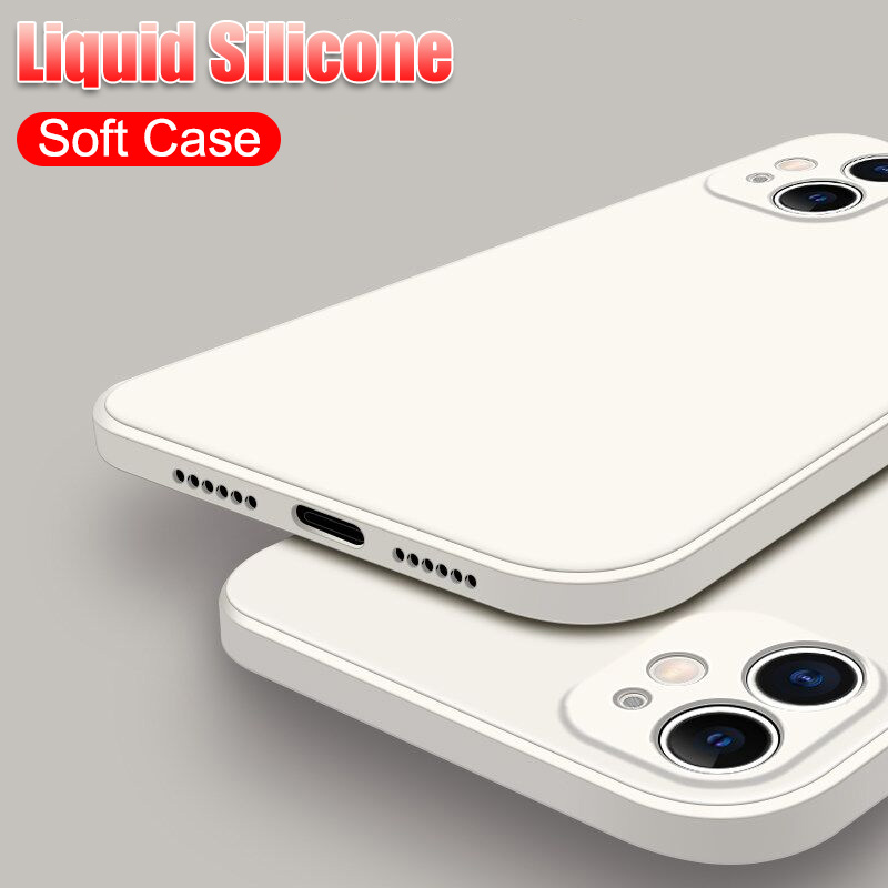 Original Liquid Silicone Soft Case For Iphone SE 2020 11 12 Pro X XR XS Max 6S 6 7 8 Plus Full Cover Shockproof Cases Not Logo