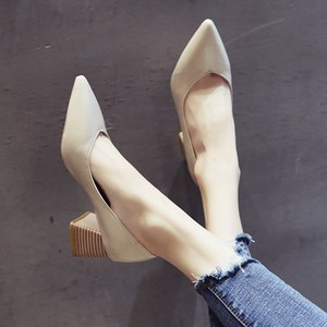 SLHJC Med Square Heels Leather Pumps Shoes Women Pointy Toe Slip On Casual Formal OL Office Lady Chunky Heels Work Shoes 5 CM