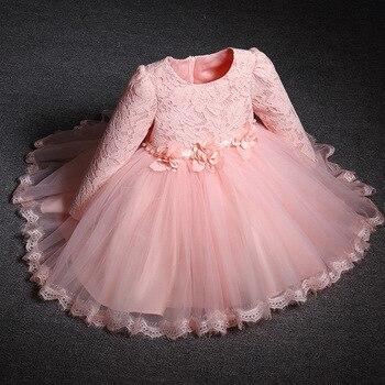 Платье принцессы для девочек 1 год, детская одежда для крещения, банкета, весеннее и осеннее кружевное платье с длинным рукавом, новогодние в...
