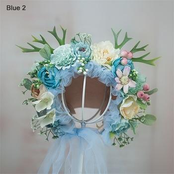 0-10 Yrs Newborn Floral Bonnet Baby Adult Family Flower Hat Photography Parent-child Garden Simulation Flower Cap Photo Props - Blue-2, 10 Yrs-Adult