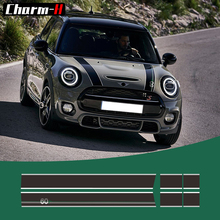 60th Anniversary Styling Hood Bonnet Stripes Sticker Trunk Rear Engine Cover Decal Stickers for Mini R56 R57 F55 F56 Hatchback