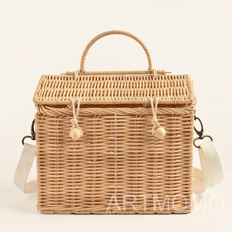 Винтажная сумка из ротанга ручной работы в скандинавском стиле INS, детская Наплечная Сумка в форме домика, лучший подарок для девочек, сумка ...