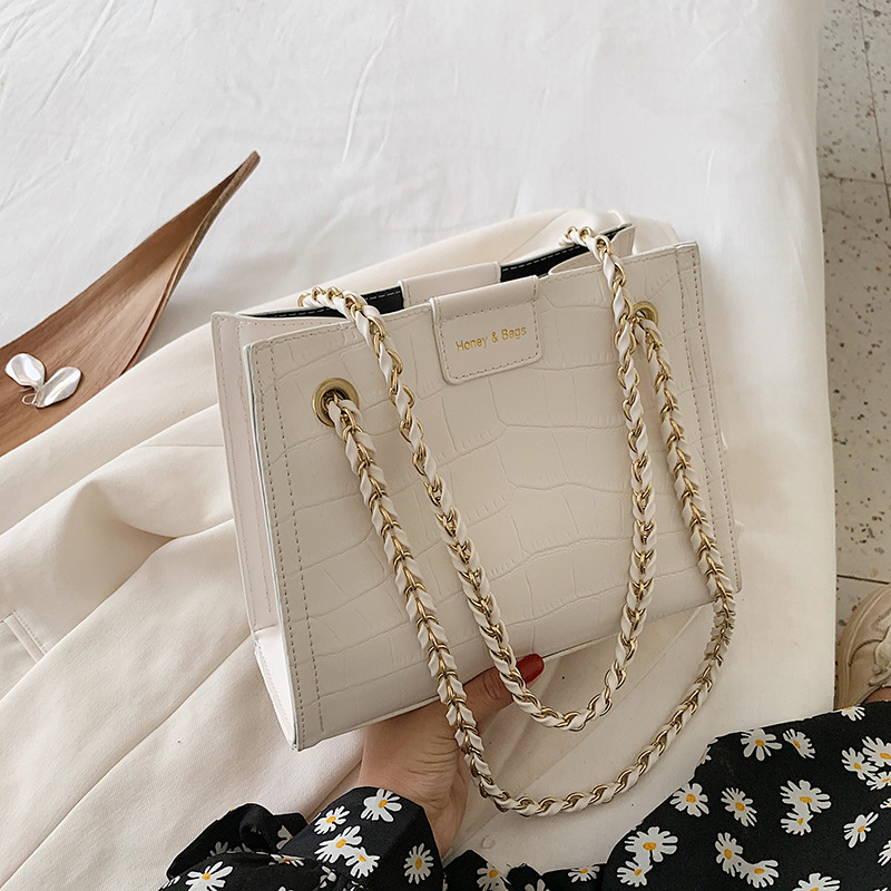 Large Capacity Toth Bags Female 2020 New Style Fashion Fashion shi tou wen Shoulder Bag Versatile Online Celebrity Chain Shoulde(China)